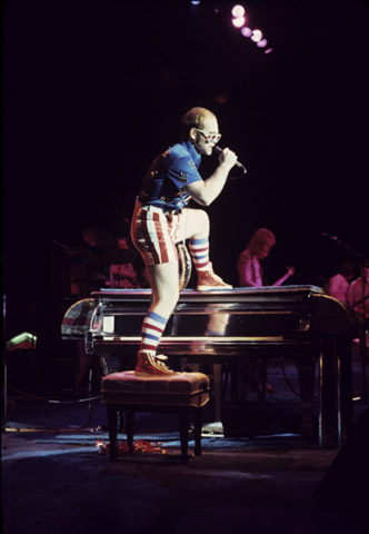 July 4, 1976, Elton John at Schaefer Stadium, Foxboro, Massachusetts. —Joe Sia photo